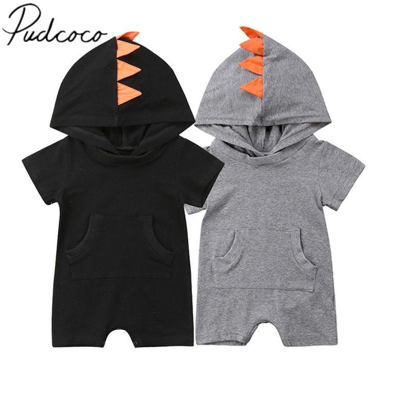 2018 Marke Neue Säuglingskleinkind Newborn Baby Junge Mädchen Mit Kapuze Spielanzugoverall Dinosaur Kleidung Kurzarm Outfits Tasche Jumpsuit