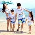 2017 pai e filho roupas de verão define t-shirt + calções de praia mãe e filha combinando roupas família set família casual matching