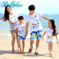 2017 summer dad and son clothes sets t-shirt + beach shorts mother daughter matching clothes family set casual family matching