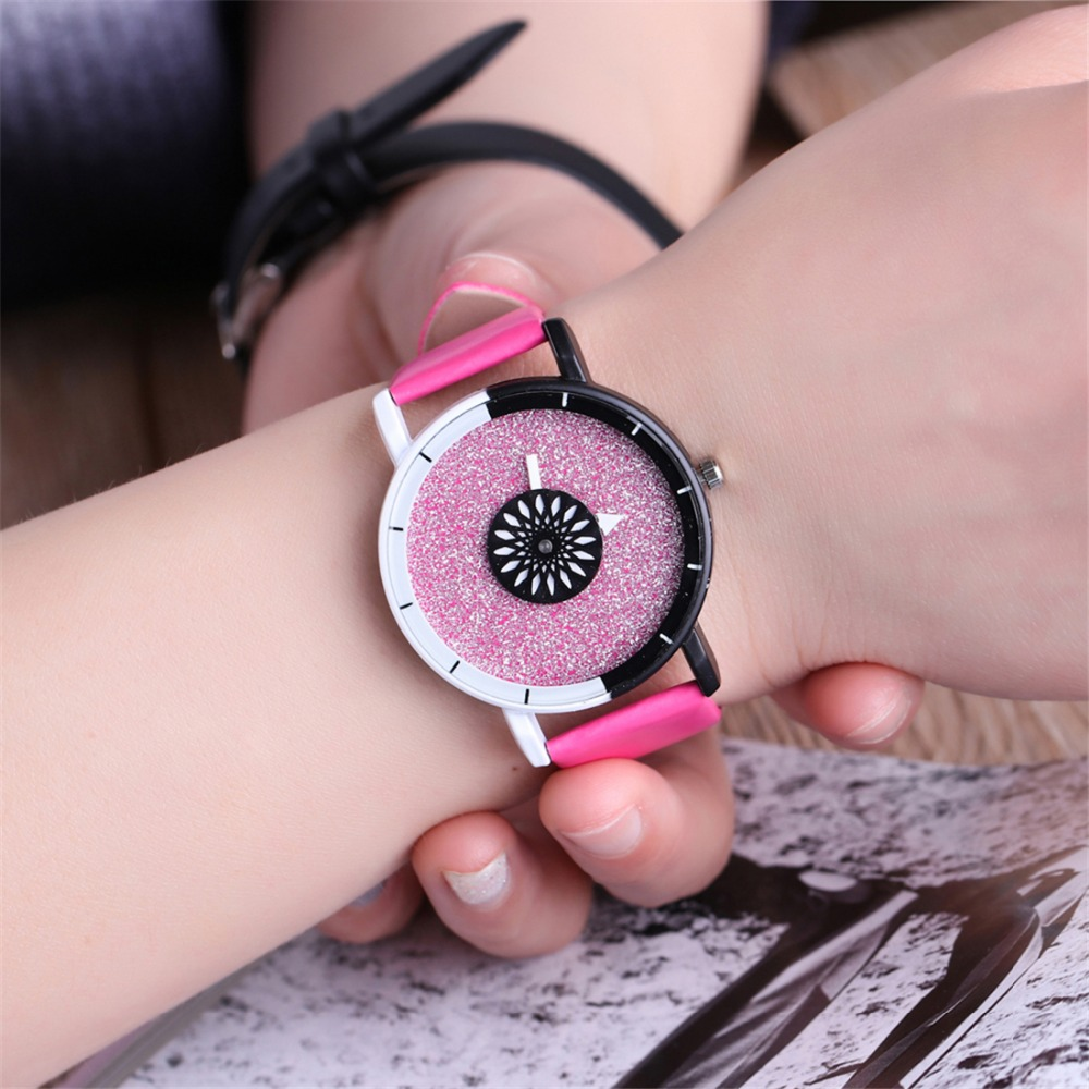 Top Brand Luxury Unisex Frosted Watch Women Rose Red Color F