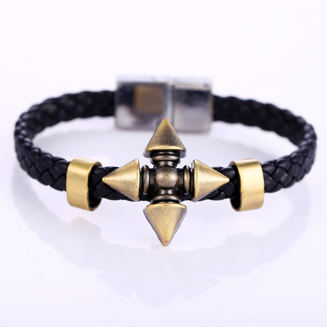 Anime Naruto Braid Leather Bracelets & Bangles Akatsuki Itachi Konoha Logo Alloy Bracelet Wristband Cosplay Jewelry