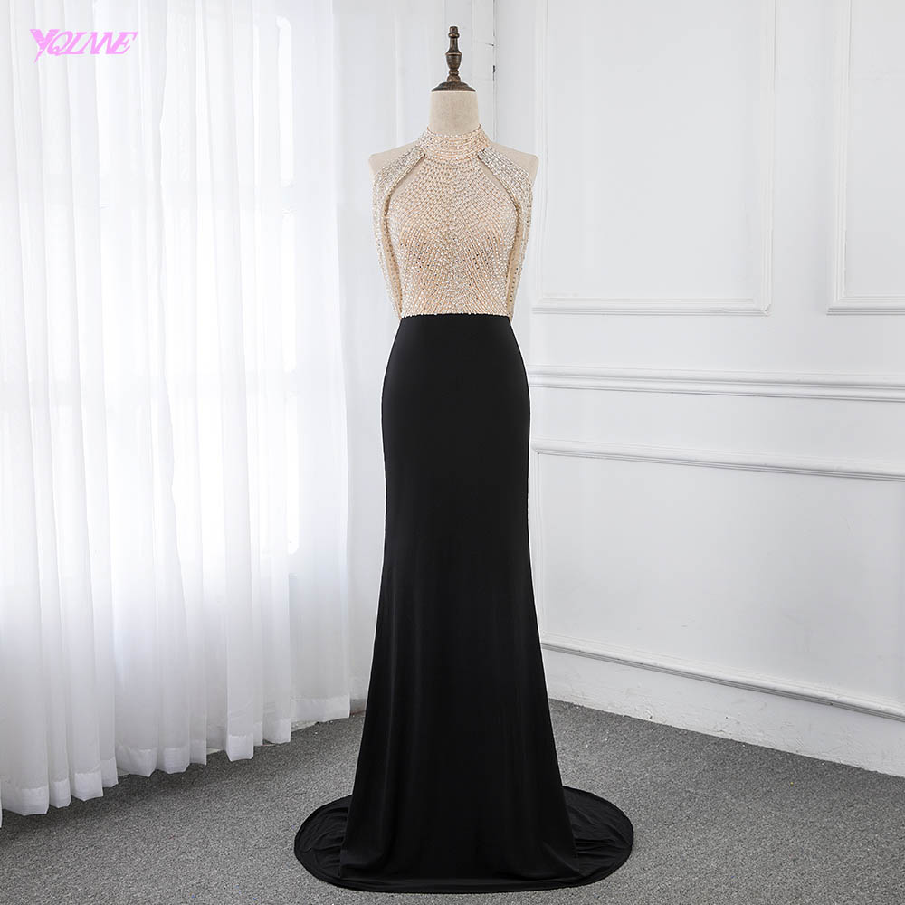 Black Mermaid Long   Evening     Dresses   Backless Halter Beaded   Evening   Gown Robe De Soiree YQLNNE
