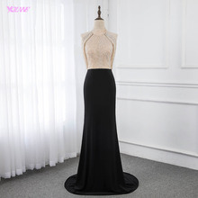 黒マーメイドロングイブニングドレス背中ビーズイブニングローブ · ド · 夜会 yqlnne