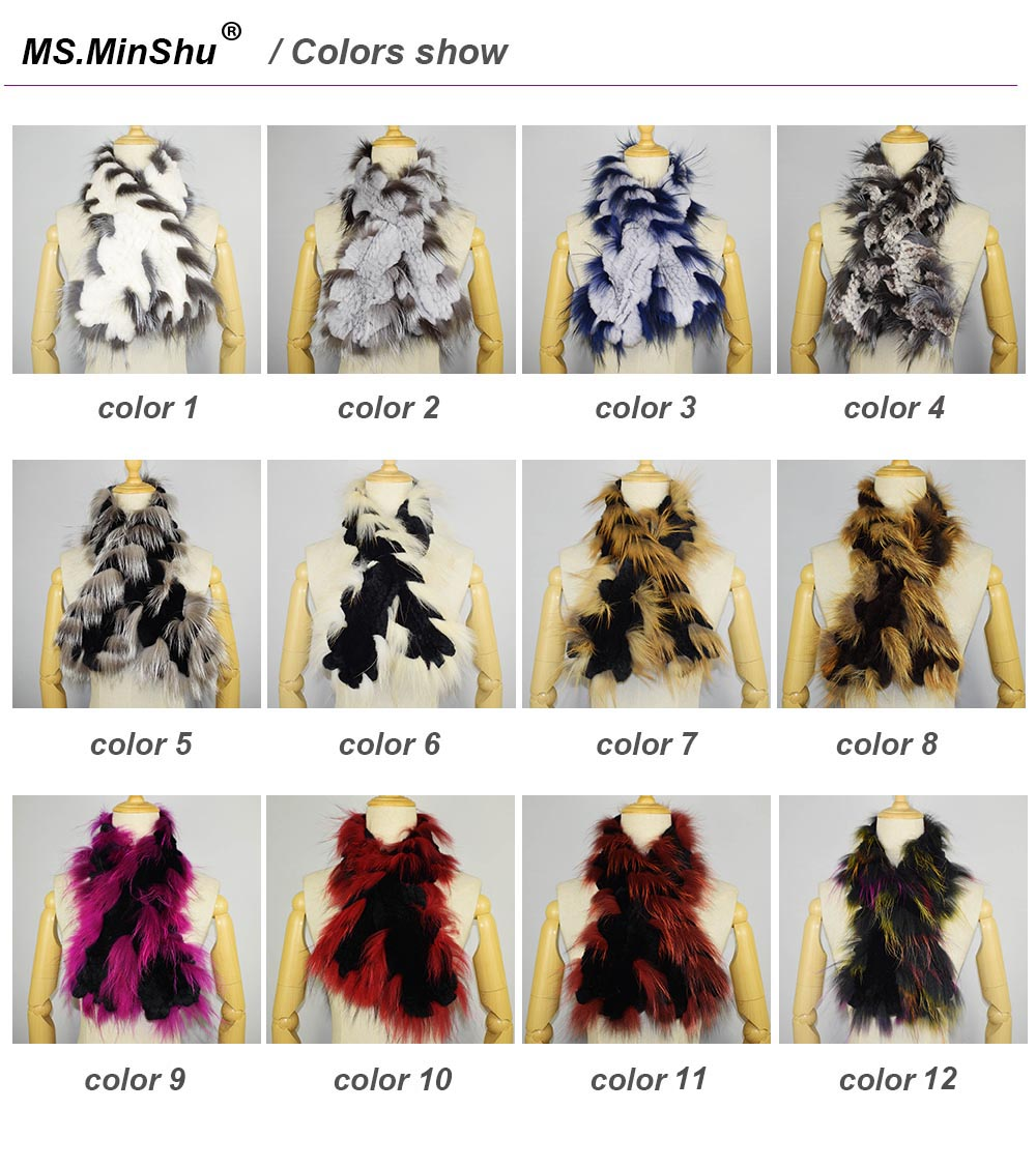 fox fur trimmed scarf colors show