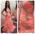 Nova Moda 2014 de Cristal Sweetehart Sereia Coral Prom Dress Abendkleider Plissado Frisado Longo Vestido de Noite Vestidos de Formatura