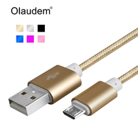 Micro USB Cable Nylon Braided Micro USB Cables Aluminum Plug For Samsung Xiaomi Mi5 Charger Cable