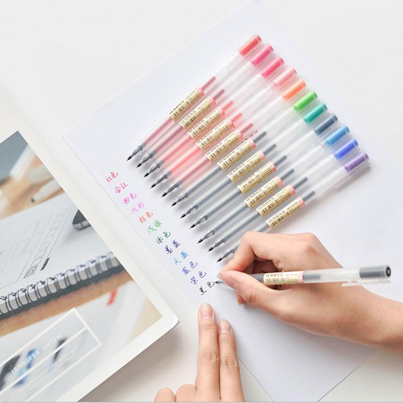 12 Pcs/lot Colorful Ink 0.5mm Muji Style Gel Pen Cute Maker Office Student Painting Graffiti Writing Stationery Supply Papelaria