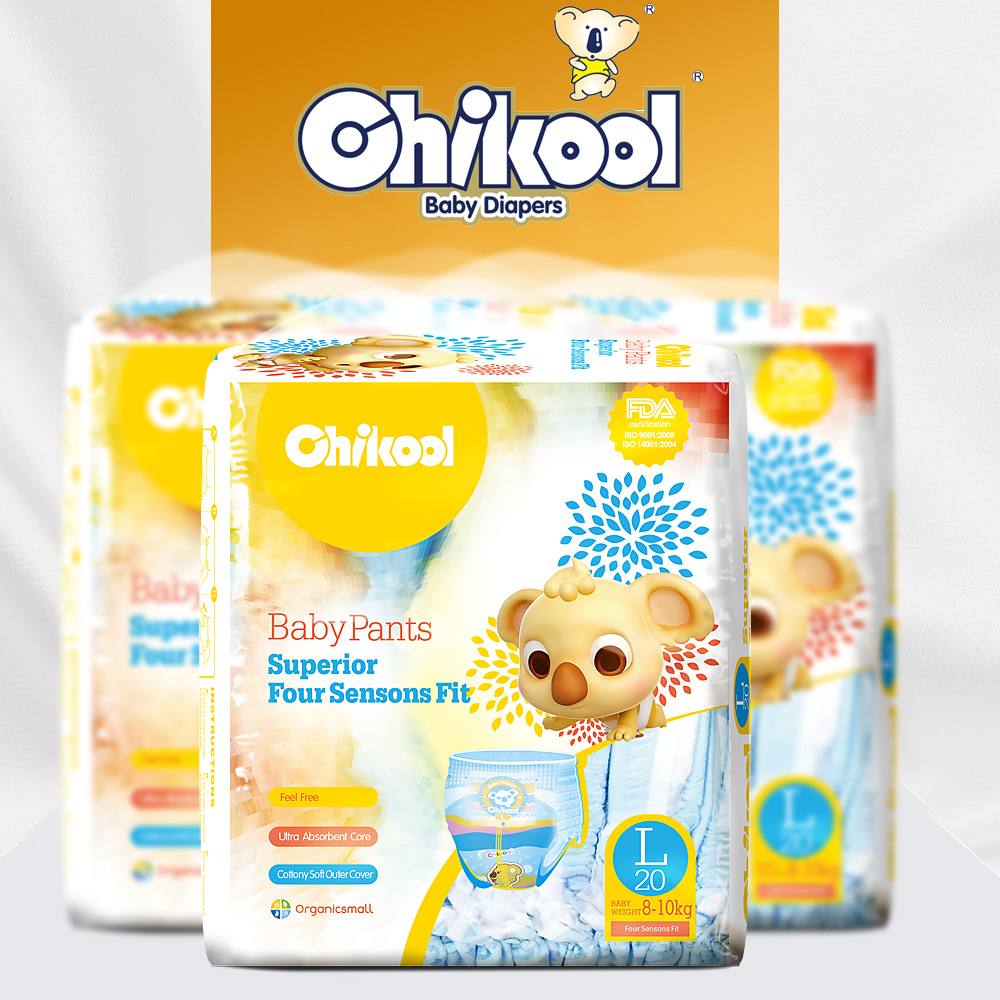 2018 Chikool Diaper Pants 20pcs Size L for 8-10kg Baby Training Pants Disposable Diapers Comprehensive leak guards Underpant