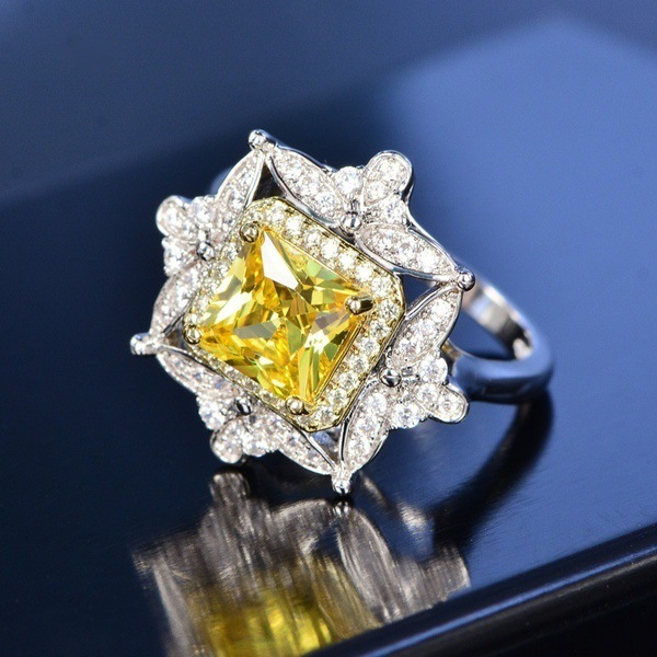 New Collection Yellow Shiny Princess Stone Rings European American Luxury Vintage Party Engagement Finger Silver Jewelry