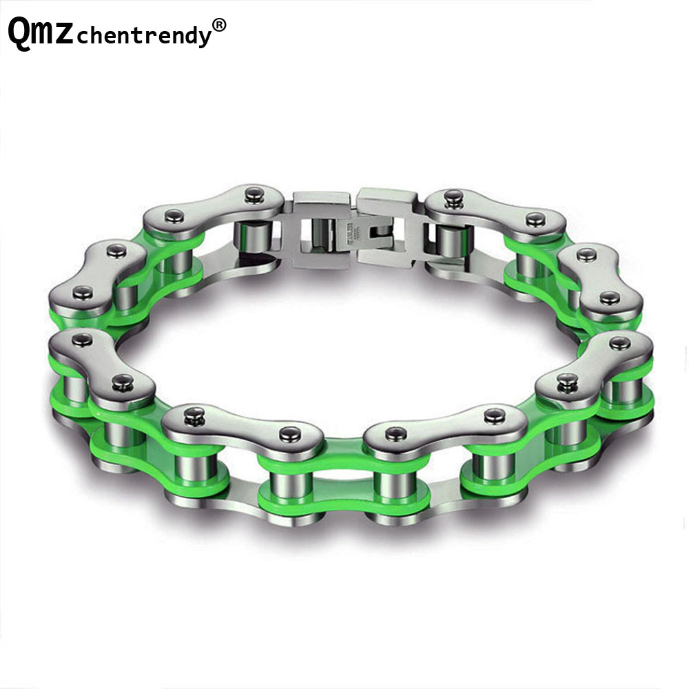 Stainless steel Colours Motorcycle Biker Chain Bangles Green&Red&Orange Colors bicycle biker Chain bracelets Girls Boys bangle boniskiss 2017 22mm mens sport wristband boys silver stainless steel skull bracelets biker motorcycle chain bracelet