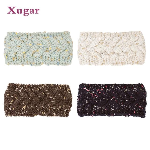 Bronceado colorido Punto de lana la venda para las mujeres invierno ...