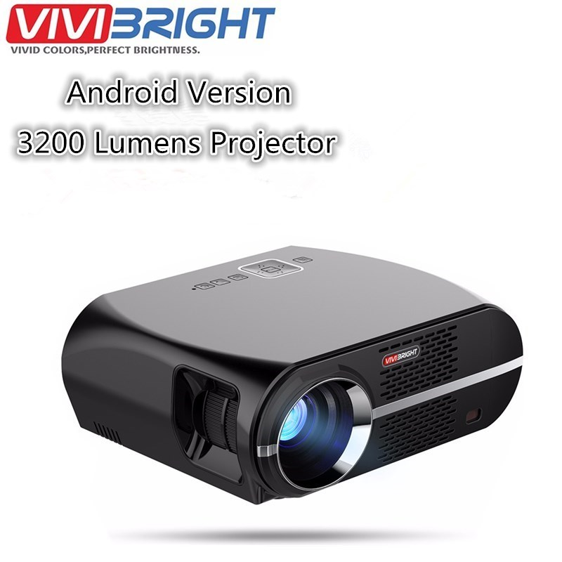 VIVIBRIGHT GP100 Android 6.0.1 LED Projector UP 1280x800 Resolution 3200 Lumens Built-in WIFI Bluetooth DLAN Miracast Alirplay aun projector 3200 lumen t90 1280 768 optional android projector with 2 4g air mouse bluetooth wifi support kodi ac3 led tv