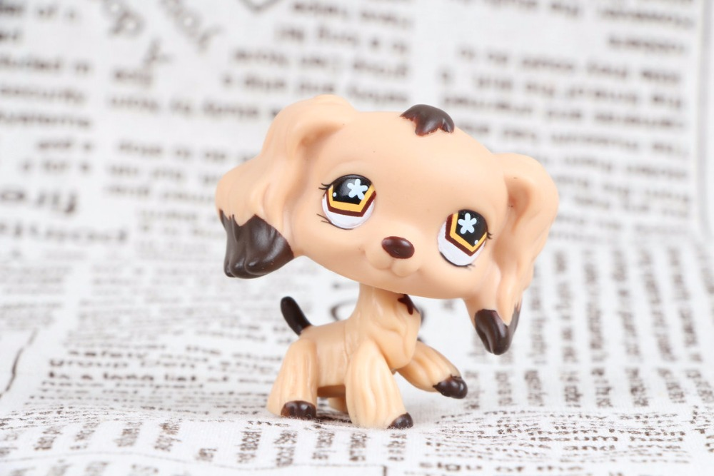 New pet Genuine Original LPS #575 LPS Tan Cocker Spaniel Dog Brown Dipped Ears figure Toys lps toy pet shop cute beach coconut trees and crabs action figure pvc lps toys for children birthday christmas gift