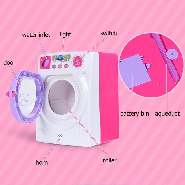 RCtown Children Play House Game Toy Simulation Washing Machine Electric Toy with Light Sound random color zk30 2