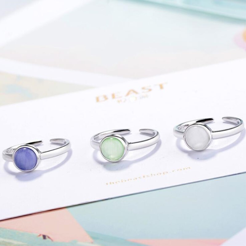 New Fashion Korean Style 925 Sterling Silver Jewelry Personality Sweet Cat Opal Three Colors Simple Round Opening Rings SR364