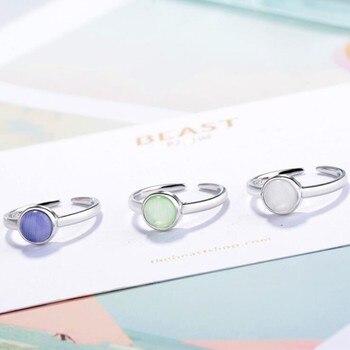 Nouvelle mode Style coréen 925 bijoux en argent Sterling personnalité doux chat opale trois couleurs Simple rond ouverture anneaux SR364