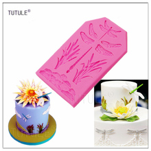Gadgets-stone Water grass dragonfly Silicone mold flexible silicone push mold / craft/dessert/mini food/Dragonfly mould цена
