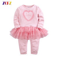 ZOFZ Kawaii Newborn Baby Rompers Spring Autumn Baby Clothing For Girls Cotton Baby Girl Rompers Long