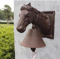 Cast Iron Ornate Horse Head Door Bell Doorbell Country Brown Cottage Farm Patio Garden Barn Dinner Bell Metal Wall Decor Animal