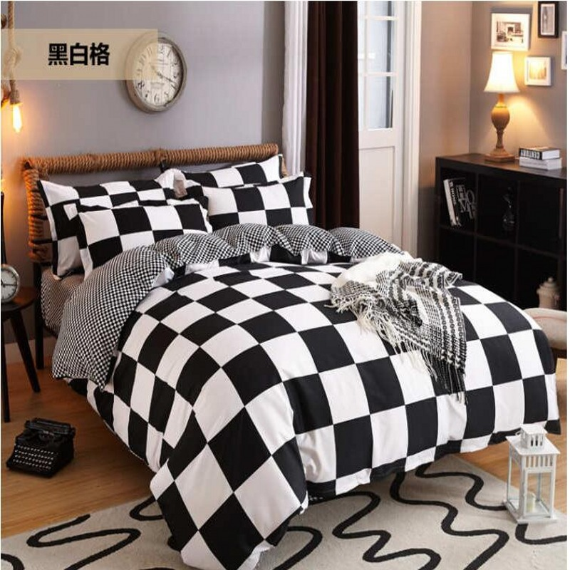 Black white geometric patterns bedding sets twin queen - Drap housse king size ...