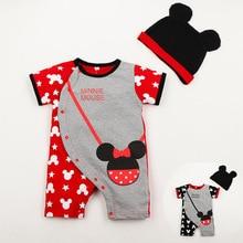 Karikaturë Mickey dhe Minnie Baby Rompers Djem dhe vajza 100% Pambuk Me kapelë mëngë të shkurtër Dy copë grupe Ngjitje për fëmijë Rrobat 0-2y