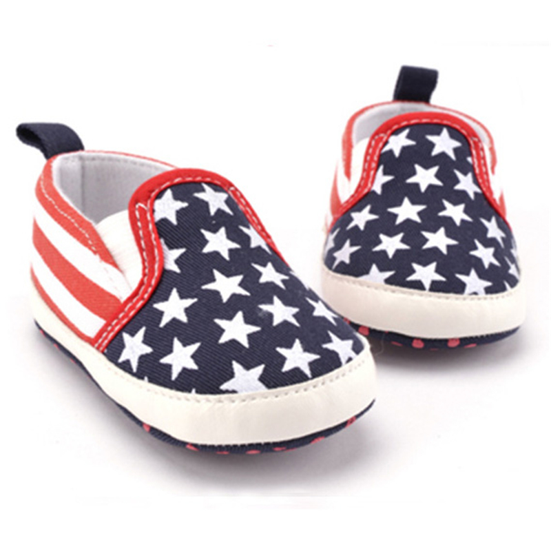2019 Non-Slip Infant Baby America Flag Pattern Toddler White Star Print Crib Shoes Kids Anti-Slip Shoes Soft Sole First Walkers