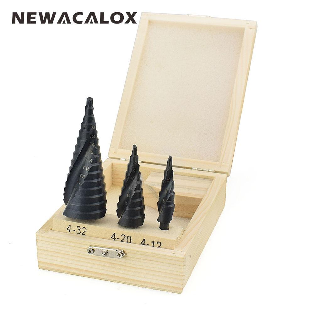 цена на NEWACALOX 4-32MM HSS Cobalt Step Drills Nitrogen Spiral for Metal Cone Drill Bit Set Triangle Shank Hole Woodworking Wood Cutter