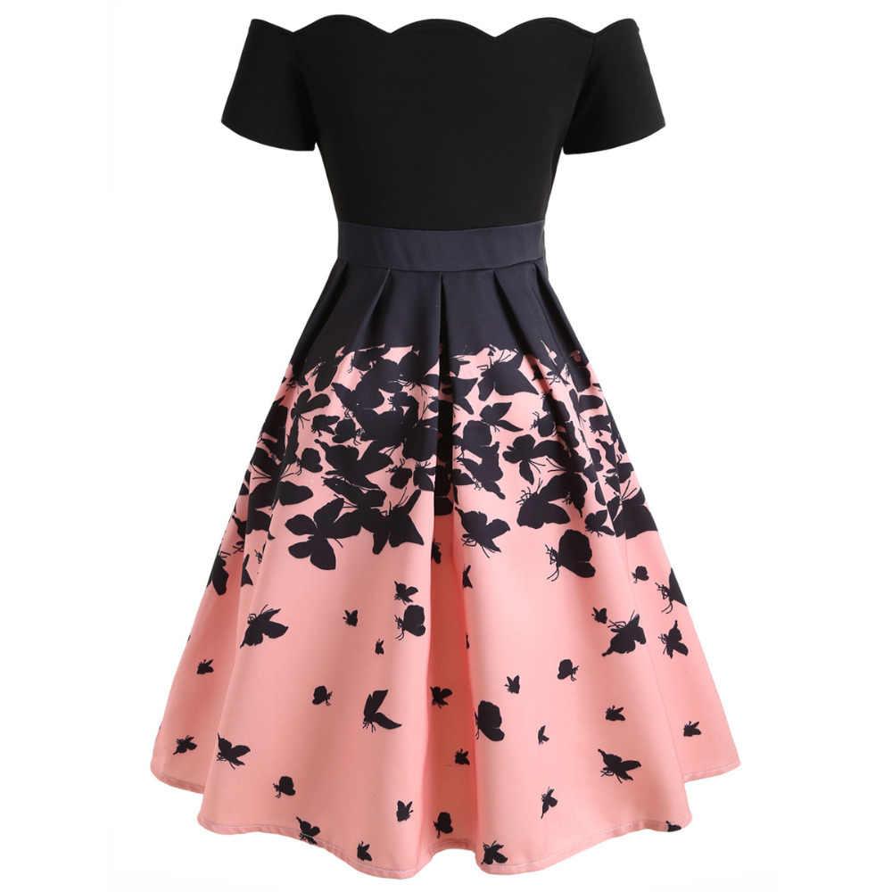 Цветочный принт с открытыми плечами женское платье винтажное платье 2019 Летние черные розовые элегантные А-силуэта Ретро Повседневные Вечерние платья рокабилли
