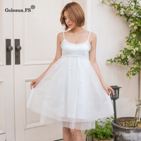 New Arrival Summer High Quality Women Sexy Bow Halter Knee length Nightgowns Lady Sleepwear Nightgown 8085