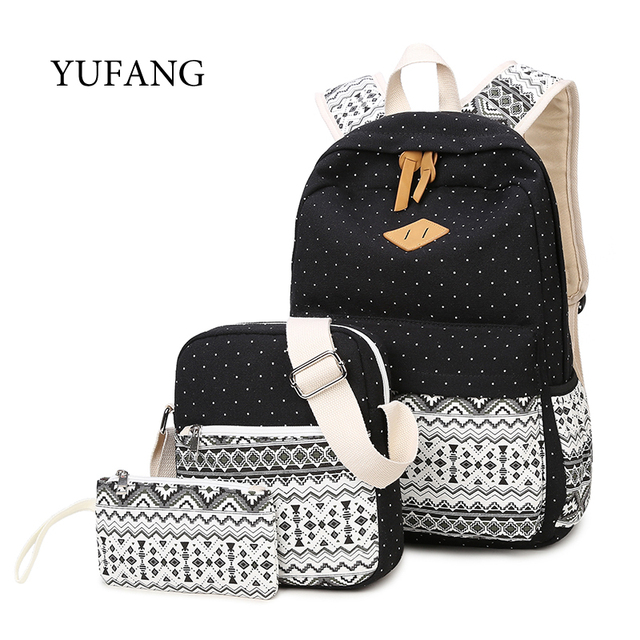 f6e12478a240 YUFANG 3 Pcs Set Stylish Canvas Printing Ethnic Backpack Women School Bags  For Teenage Girls Cute Bookbag Female Backpacks Bag