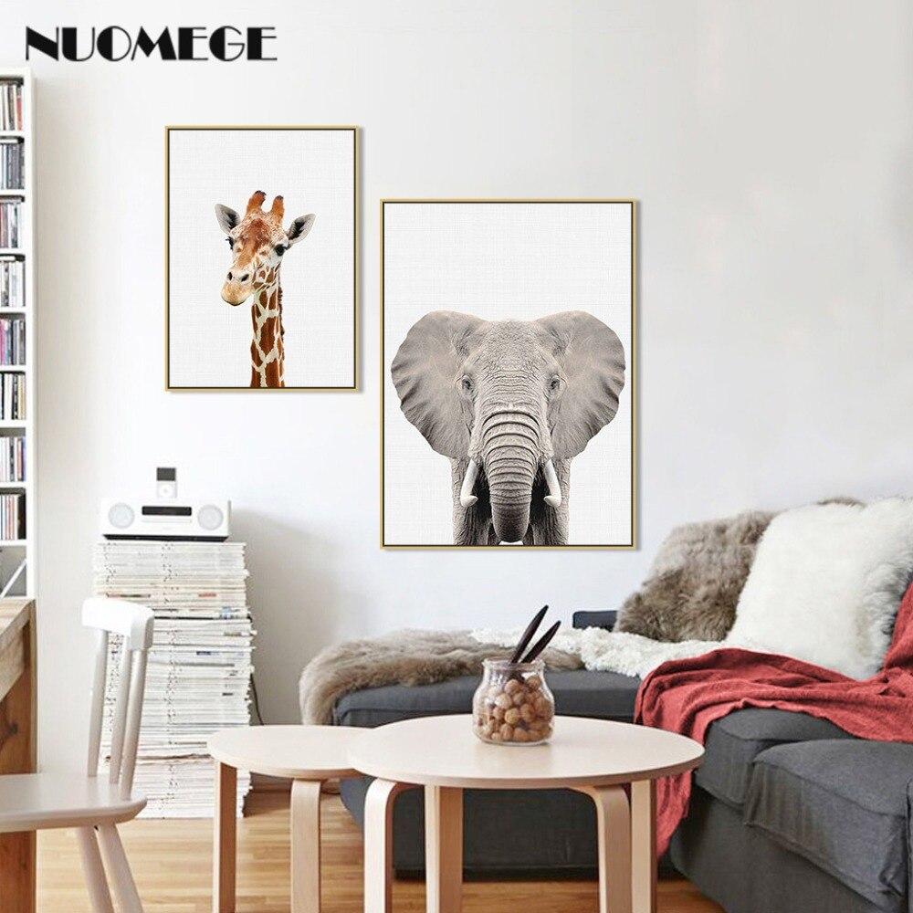 HTB1S.h XorrK1RkSne1q6ArVVXad NUOMEGE Baby Animal Poster Panda Giraffe Elephant Canvas Painting Nursery Wall Art Nordic Picture Kid's Bedroom Decoration