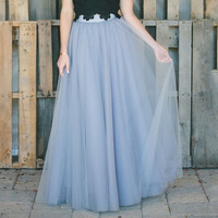 Custom Made Fashion Drak Gray Soft Tulle A line Maxi Skirt Bow Tie Waist Women Formal Party Romantic Maxi Skirts Long Saia 5XL