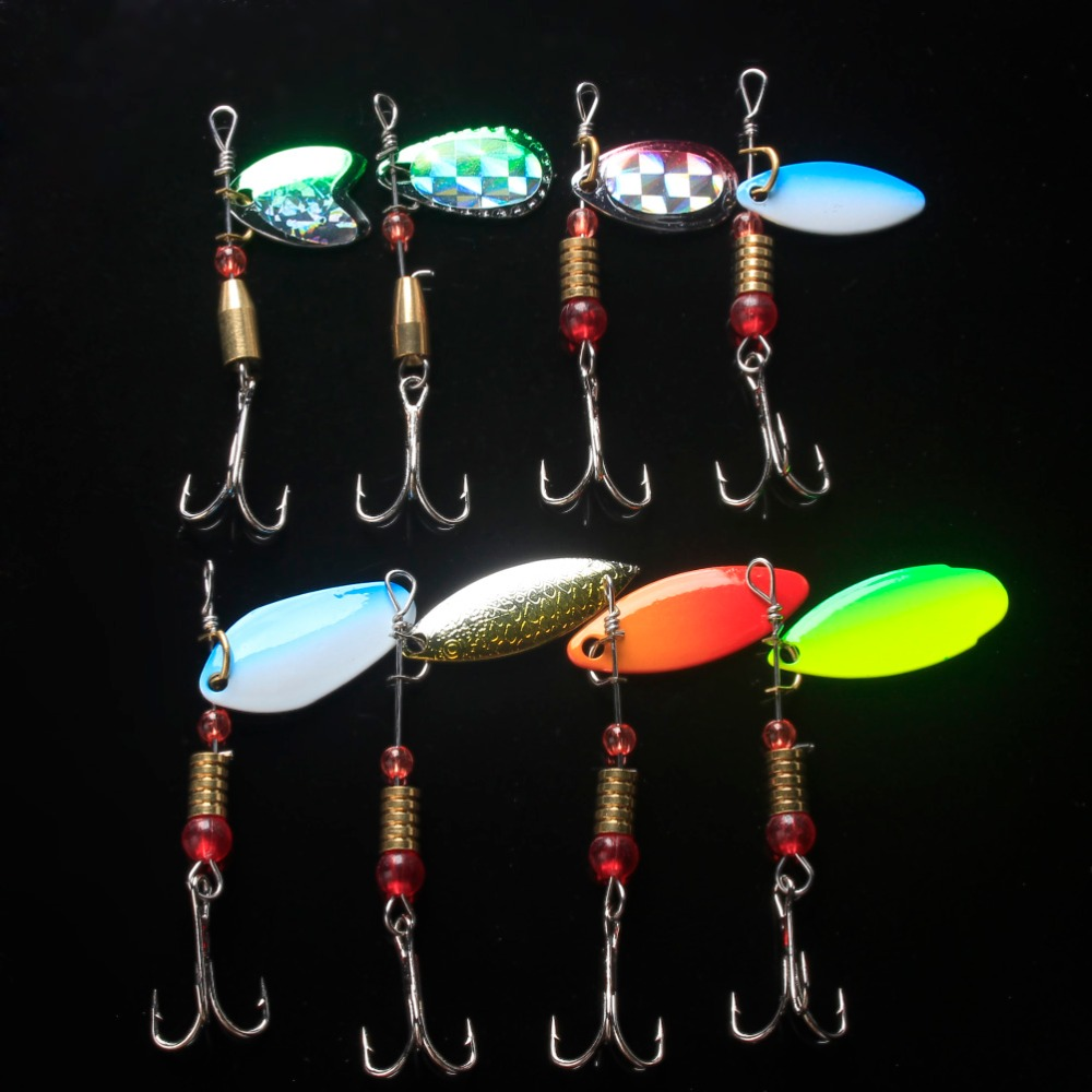 Anmuka Fishing Lures Spinner Bait Metal Spoon 8pcs/lot 8.4g-14.2g Hard Sequin isca Artificial Baits Spinnerbait for Carp fishing