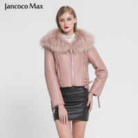 Women's Luxury Big Raccoon Fur Coat Genuine Sheepskin Leather Jacket Winter Warm Fashion Coat New Arrival S7009