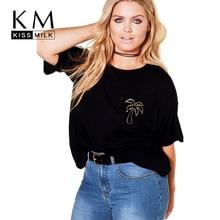 Kissmilk Plus Size Golden Coconut Print Solid Black T Shirt Short Sleeve O Neck Women Basic Tops Large 3XL 7XL