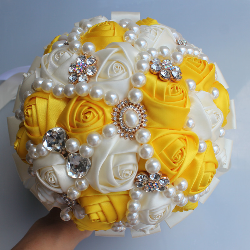 Buque De Noiva Yellow Ivory Hand Holding Flowers Rose Pearls Birdal Wedding Bouquets for Bridesmaids Flowers Holder W226-3