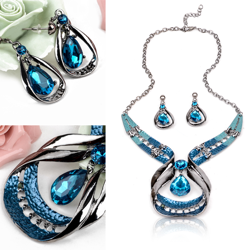Shellhard Charms Crystal Jewelry Set Vintage Bule Beads Dangle Earring Pendant Necklaces F
