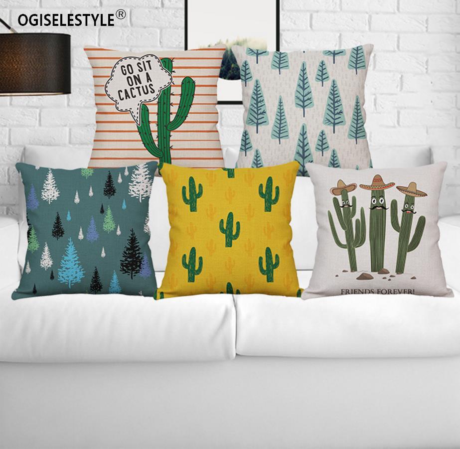 Ogiselestyle Cartoon Cactus Pillowcase Home Car Decor Sofa Chair Cushion Cover Couch Cotton Linen Bedromm Decor