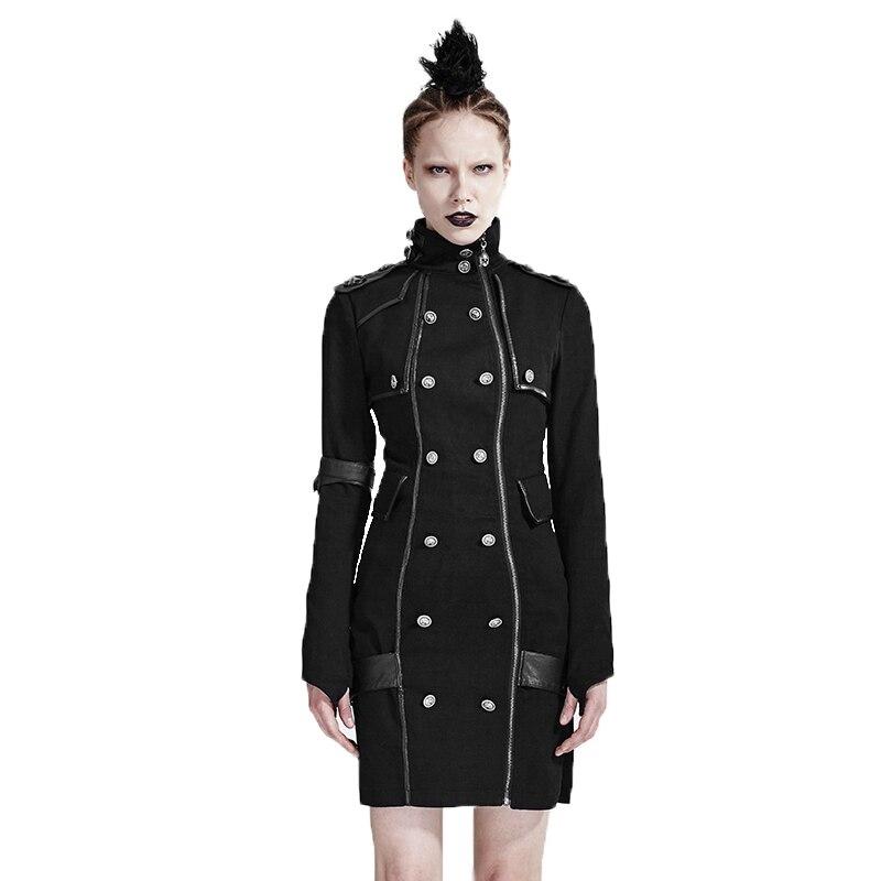 Rock Punk beau uniforme femmes robe printemps automne hiver col haut gothique manches longues robes avec boutons Deccorated