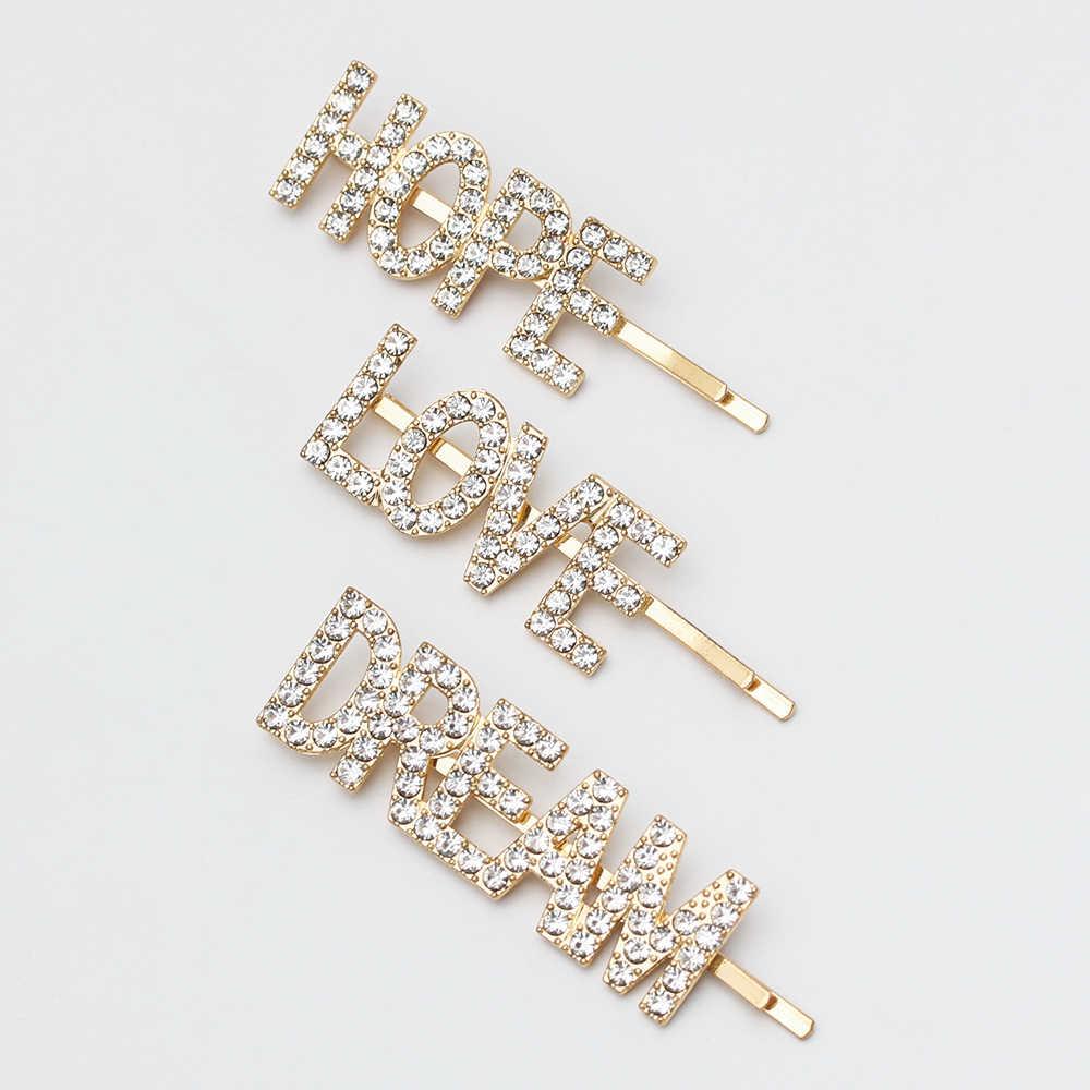 3e4aa3ec46 Detail Feedback Questions about 3 Pcs/Set Letter Barrettes Crystal ...