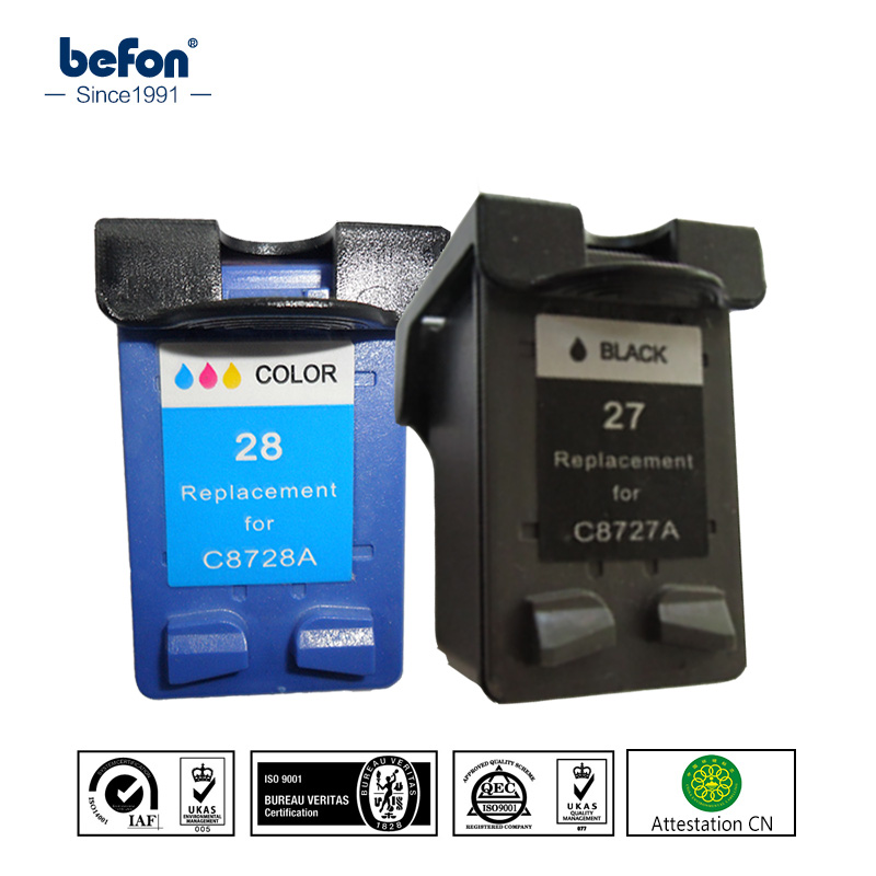 befon Compatible Ink Cartridge Replacement for HP 27 28 HP27 HP28 for Officejet 4255 4256 5608 5609 Deskjet 3320 3323 3325