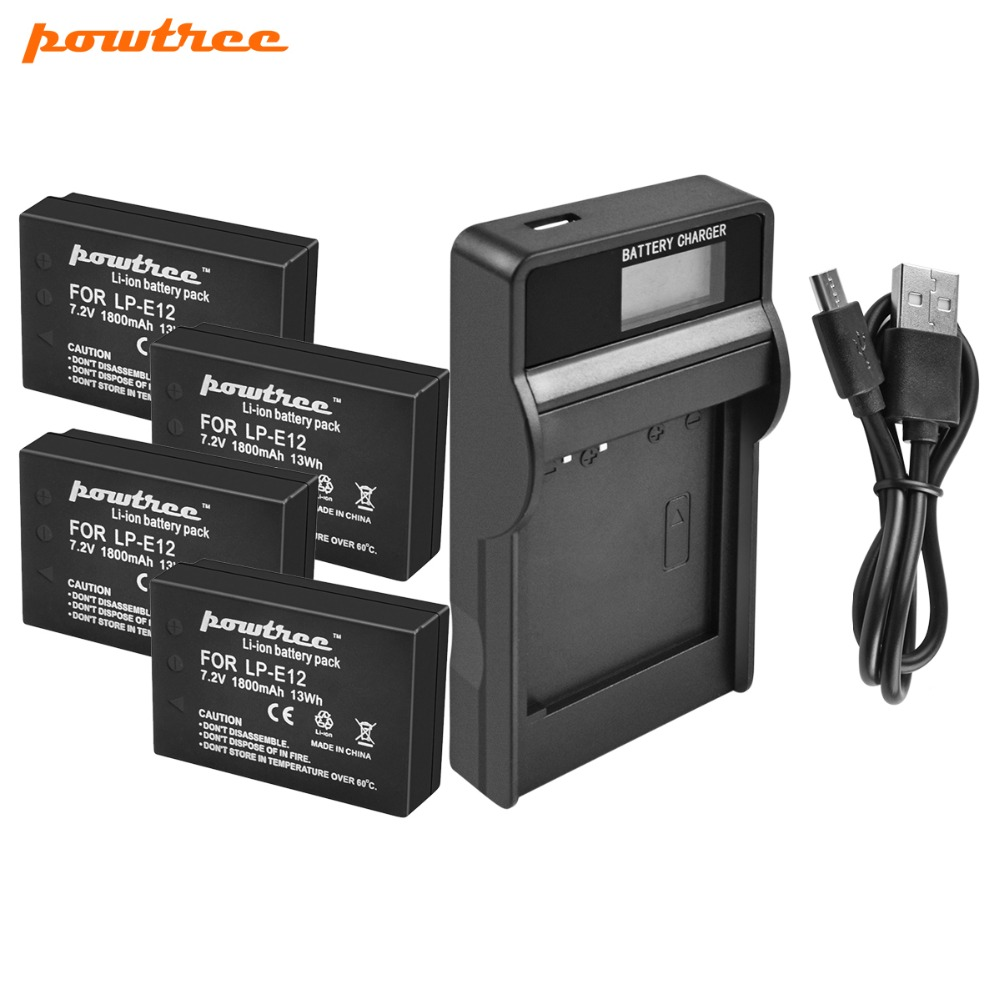 Powtree For Canon 4PCS 1800mAh 7.2V LP-E12 LP E12 LPE12 Camera Battery AKKU+LCD USB Charger Replacement EOS M10 M50 M100 100D