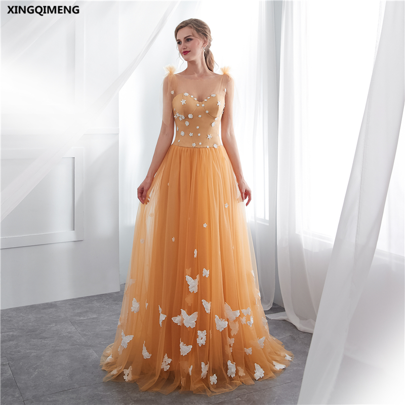Aliexpress Com Buy Simple Elegant See Through Lace Part: In Stock Elegant Golden Evenig Dress Butterfly Appliques