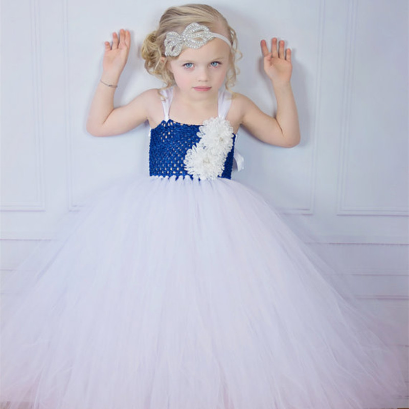 Newest Tutu Tulle White Baby Bridesmaid Flower Girl Wedding Dress Fluffy Ball Gown Birthday Evening Prom Clothing Party Dress silver gray purple pink blue ball gown tutu soft tulle puffy flower girl dress baby 1 year birthday dress with spaghetti straps