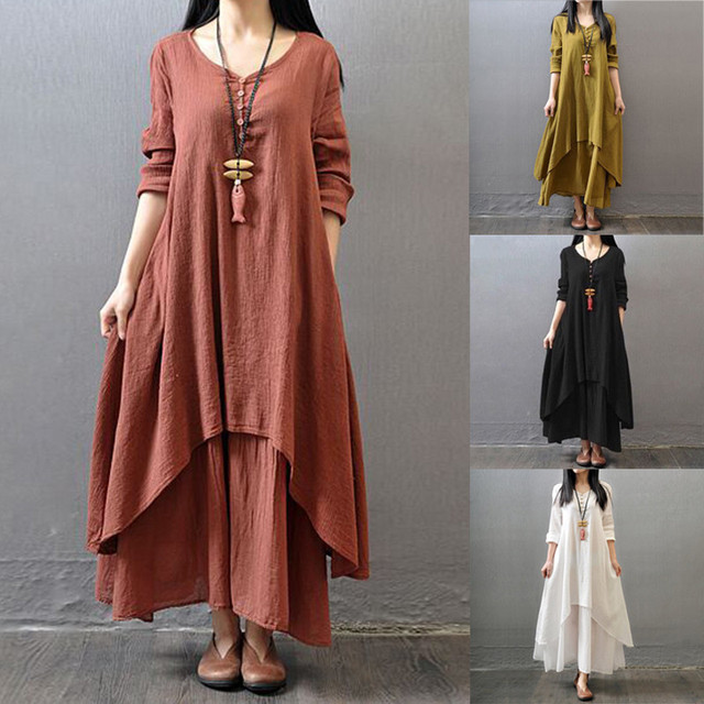 New Products Hot Sale Spring And Autumn Models Maternity Boho Women Long Sleeve Cotton Linen Beach Long Maxi Dress