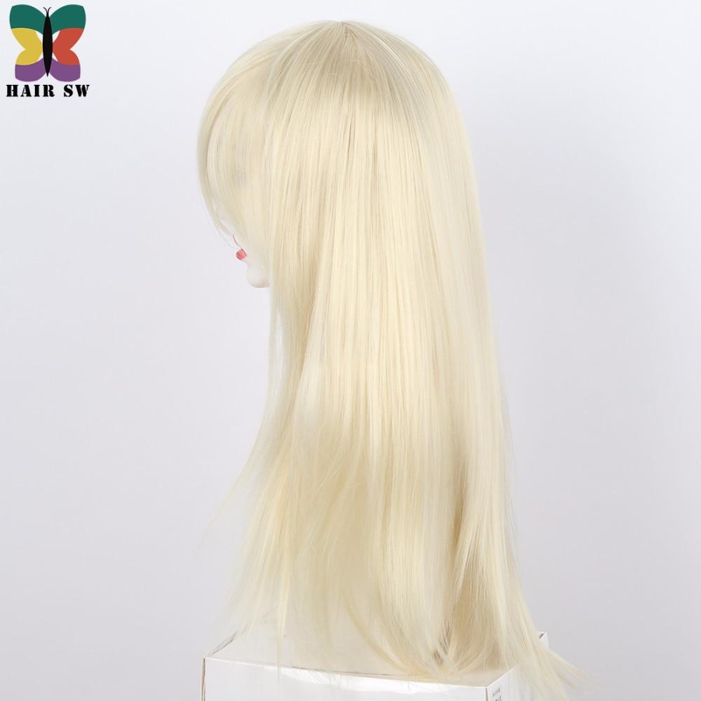 HAIR SW Long Straight Syntetisk Paryk Blond Sidodel Med Lång Bangs - Syntetiskt hår - Foto 4