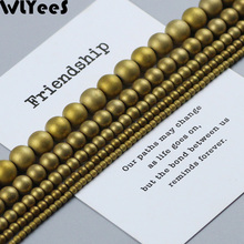 WLYeeS Polish Matte Hematite Bead Plating Gold Natural Stone 2-10mm Round Loose for Jewelry Bracelet Making DIY Accessories