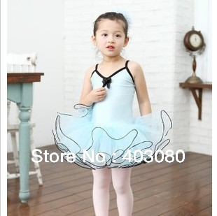 wholesale & retail Korea light blue sleeveless girls  braces dancing dress,kid TUTU dress
