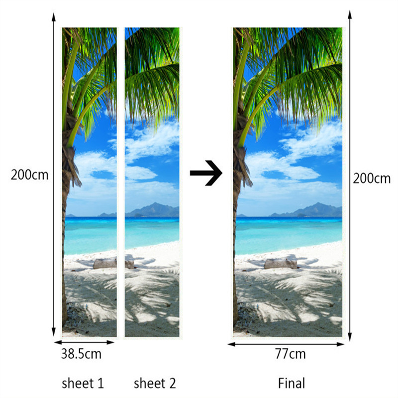 Купить с кэшбэком 3D Wallpaper Blue Sky Beach Landscape Murals Living Room Hotel Bathroom Door Sticker PVC Self Adhesive Waterproof Wall Paper 3 D