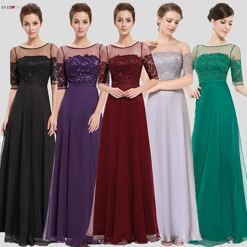 2019 Prom Dresses Ever Pretty HE08459 New Arrival Elegant Green Half Sleeves Maxi Prom Evening Gowns Prom Dresses Party Dresses